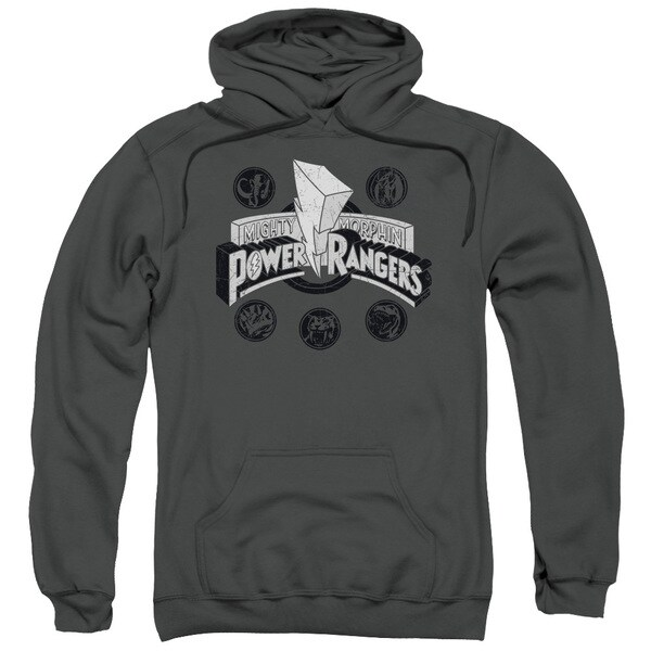 Power Rangers/Power Coins Adult Pull-Over Hoodie in Charcoal