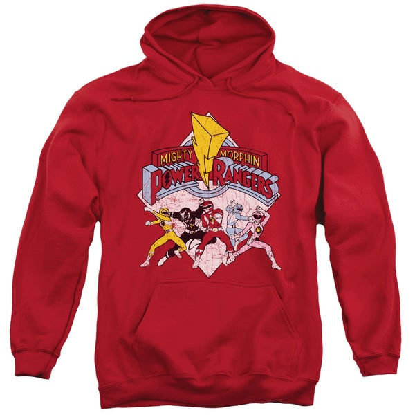 Power Rangers/Retro Rangers Adult Pull-Over Hoodie in Red