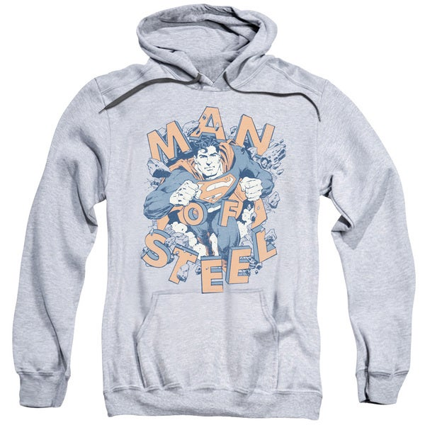 Superman/Coming Through Adult Pull-Over Hoodie in Athletic Heather