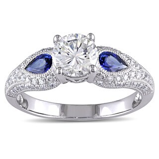 Miadora Signature Collection 14k White Gold Pear-cut Sapphire and 1 1/5ct TDW GIA Certified Diamond Engagement Ring (L, VS2)