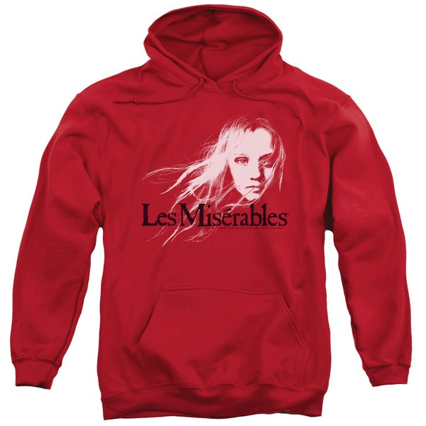 Les Miserables/Textured Logo Adult Pull-Over Hoodie in Red