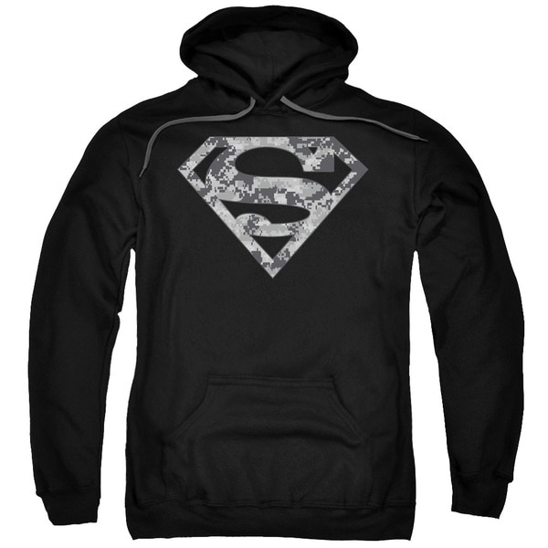 Superman/Urban Camo Shield Adult Pull-Over Hoodie in Black