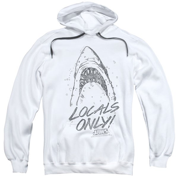 Jaws/Locals Only Adult Pull-Over Hoodie in White