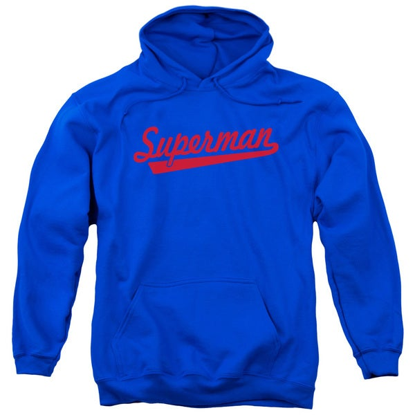Superman/S Tail Adult Pull-Over Hoodie in Royal Blue
