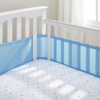 Baby Blue Breathable Mesh Crib Liner with Microfiber Binding