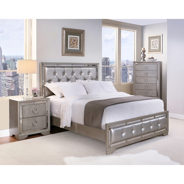 valentino mirrored and leather tufted 4 piece king size bedroom set