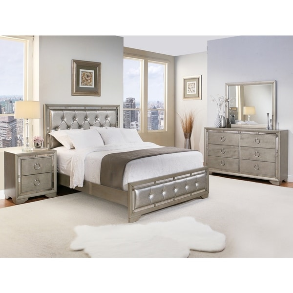 Abbyson Living Valentino Mirrored And Leather Tufted 5 Piece California King Size Bedroom Set