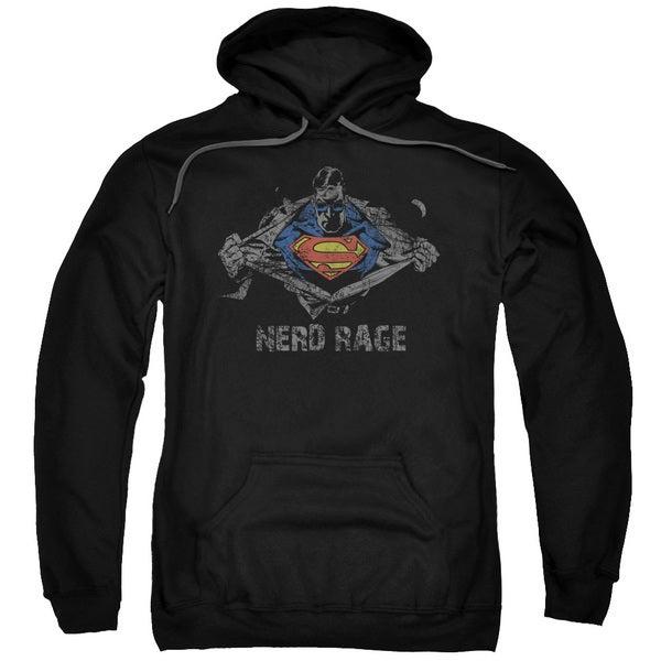 Superman/Nerd Rage Adult Pull-Over Hoodie in Black