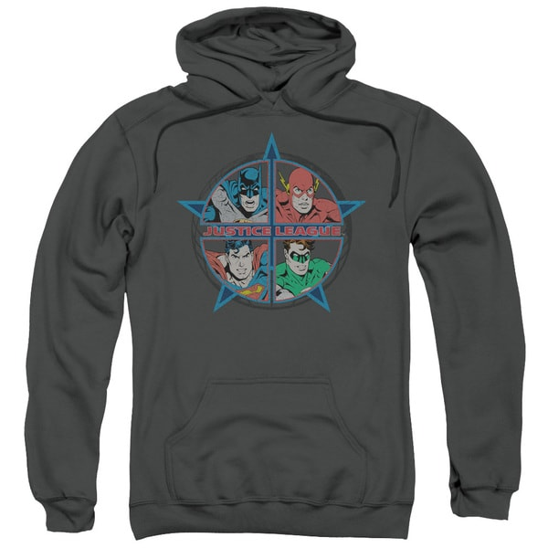 JLA/Four Heroes Adult Pull-Over Hoodie in Charcoal