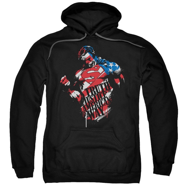 Superman/The American Way Adult Pull-Over Hoodie in Black