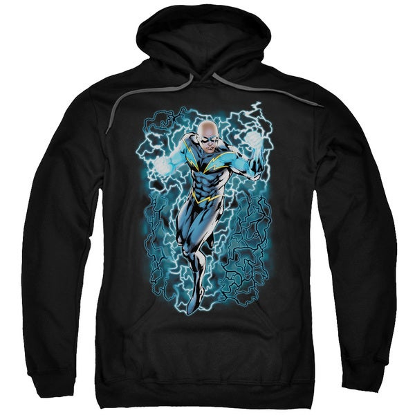 JLA/Black Lightning Bolts Adult Pull-Over Hoodie in Black