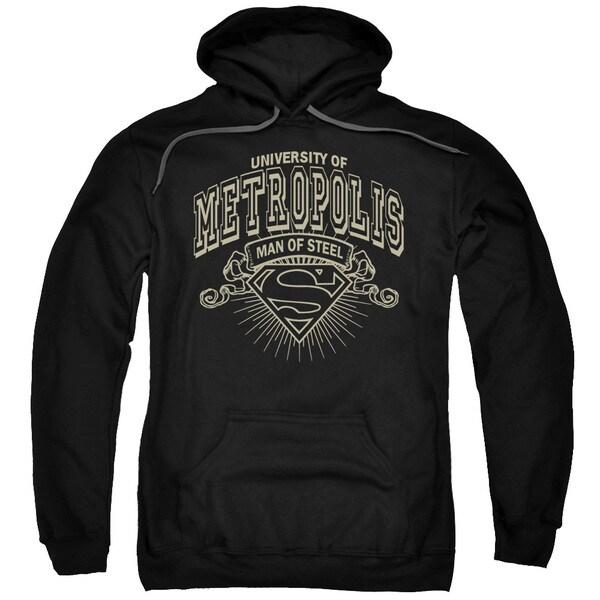 Superman/University Of Metropolis Adult Pull-Over Hoodie in Black