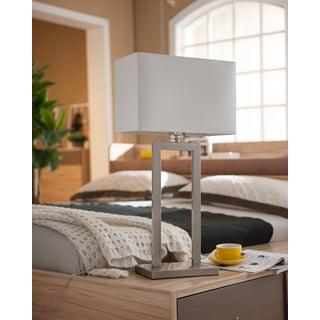 K&B Furniture K&B Traditional Brushed Nickel Table Lamps (Set of 2)
