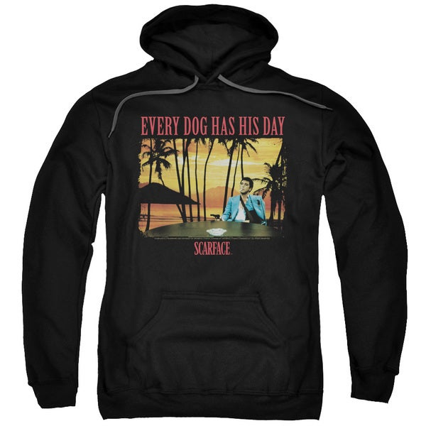 Scarface/A Dog Day Adult Pull-Over Hoodie in Black