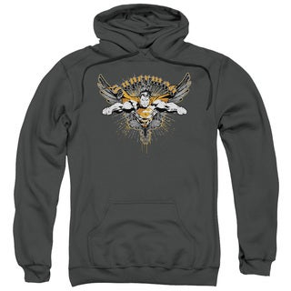 Superman/Take Wing Adult Pull-Over Hoodie in Charcoal