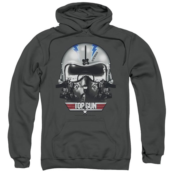 Top Gun/Iceman Helmet Adult Pull-Over Hoodie in Charcoal