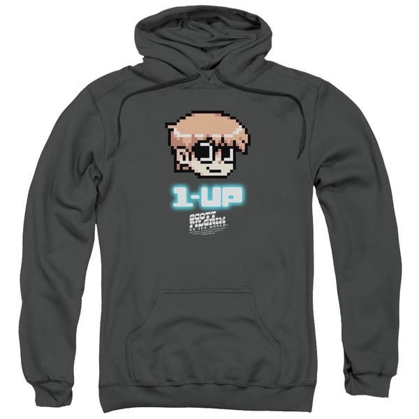 Scott Pilgrim/1 Up Adult Pull-Over Hoodie in Charcoal