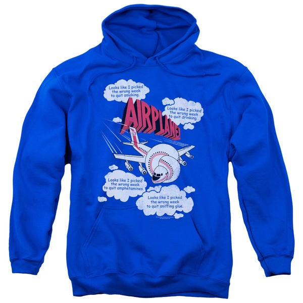 Airplane/Picked The Wrong Day Adult Pull-Over Hoodie in Royal Blue