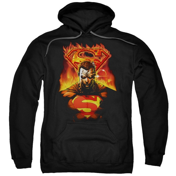 Superman/Man On Fire Adult Pull-Over Hoodie in Black