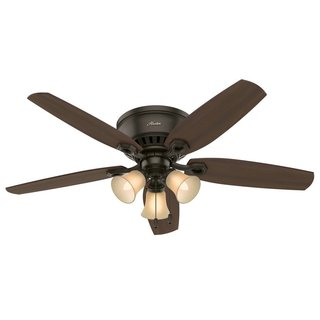 Hunter Builder Deluxe New Bronze 52-inch Ceiling Fan with 5 Brazilian Cherry/Harvest Mahogany Reversible Blades