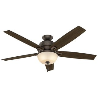 Hunter Fan Donegan Collection Brown Glass, Metal and Plastic 10-inch x 14-inch x 24-inch Onyx Bengal with 5 Reversible Blades