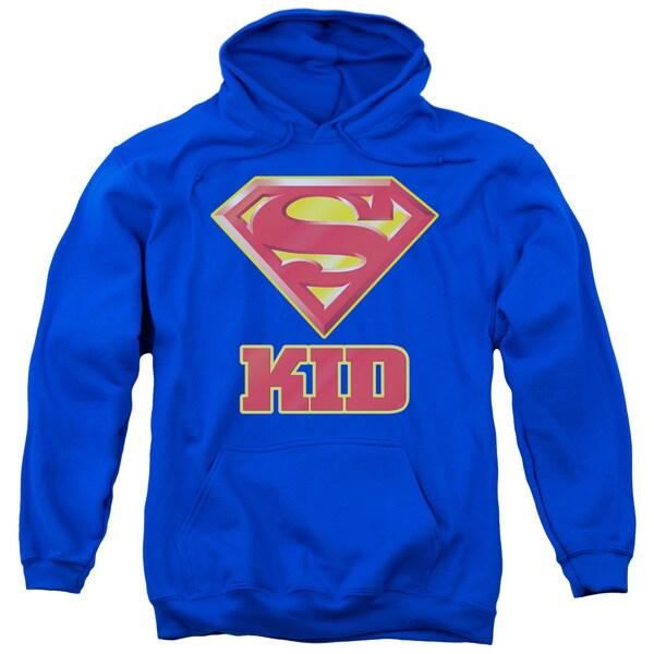 Superman/Super Kid Adult Pull-Over Hoodie in Royal Blue