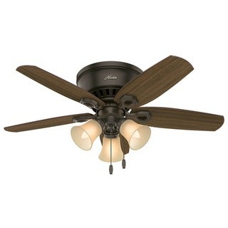 "Hunter 42"" Builder Low Profile Ceiling Fan with LED Light Kit and Pull Chain"