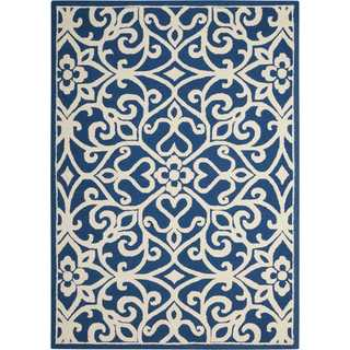 Nourison Linear Navy/Ivory Rug (7'6 x 9'6)