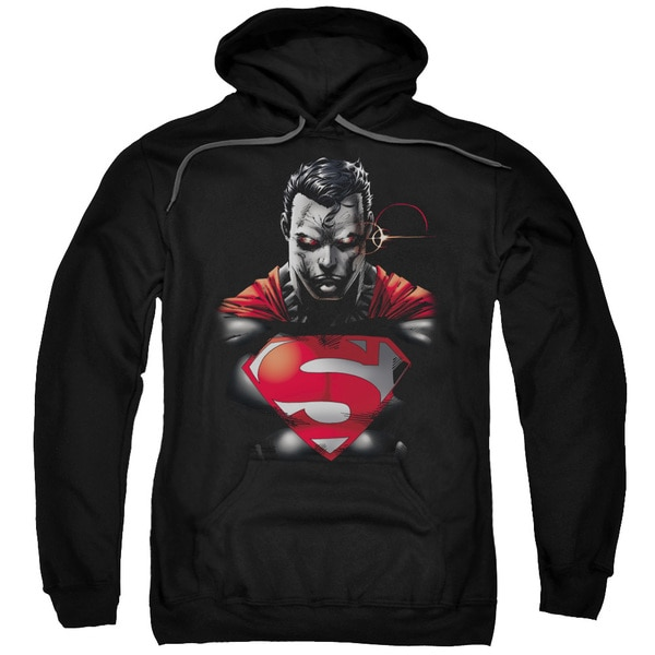 Superman/Heat Vision Charged Adult Pull-Over Hoodie in Black