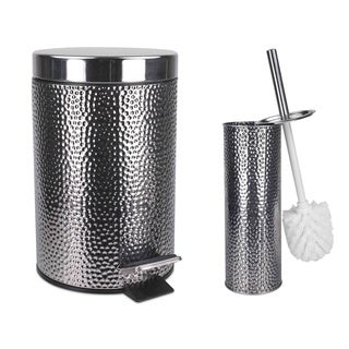 Home Basics Deluxe Hammered Stainless Steel Bathroom Accessories