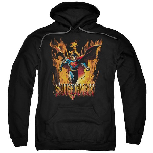 Superman/Through The Fire Adult Pull-Over Hoodie in Black