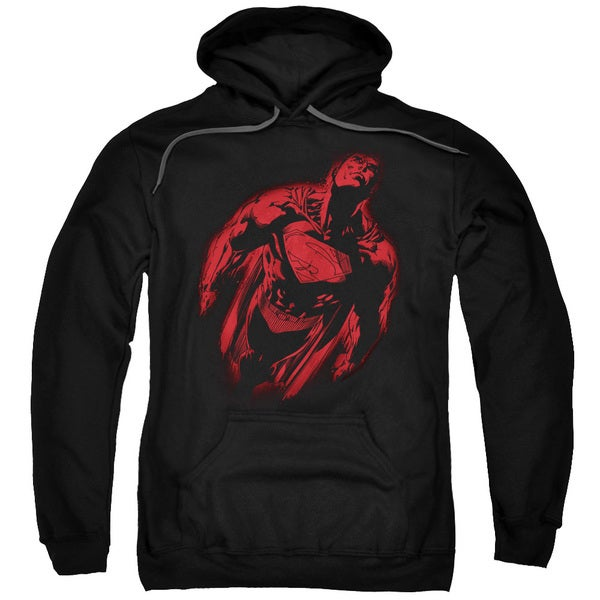 Superman/Sprayed Supes Adult Pull-Over Hoodie in Black