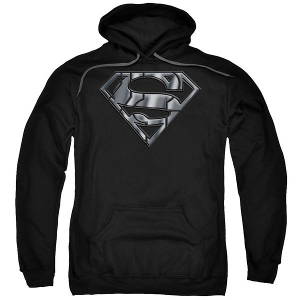 Superman/Mech Shield Adult Pull-Over Hoodie in Black