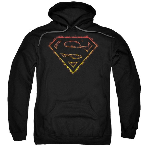 Superman/Flame Outlined Logo Adult Pull-Over Hoodie in Black
