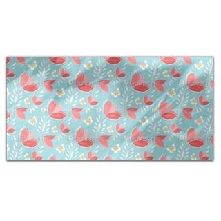 Coral Flowers Rectangle Tablecloth