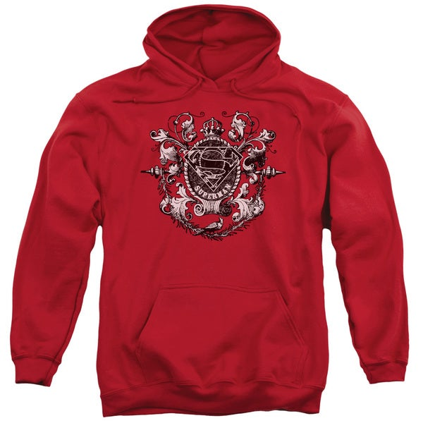 Superman/All Hail Superman Adult Pull-Over Hoodie in Red