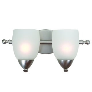Ann Nickel Finish 2-light Vanity Light Fixture with White Etched Glass