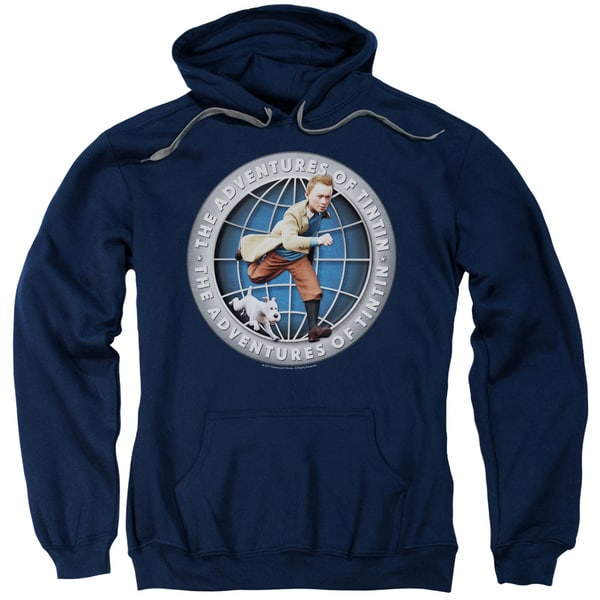 Tintin/Globe Adult Pull-Over Hoodie in Navy