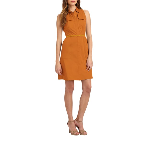 Elie Tahari Women's Gianna Orange Linen Sleeveless Shirt Dress