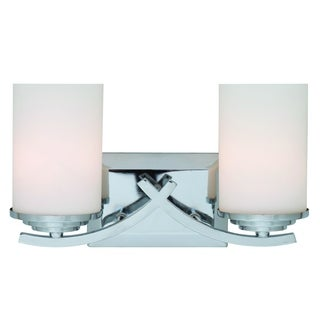 Brina Polished Chrome 2-light Vanity Light Fixture with White Opal Glass