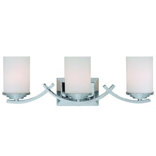 Brina Polished Chrome Finish 3-light Vanity Light Fixture with White Opal Glass