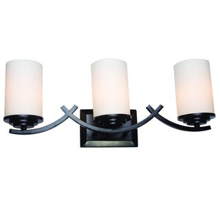 Brina Oil Rubbed Bronze Finish 3-light Vanity Light Fixture with White Opal Glass