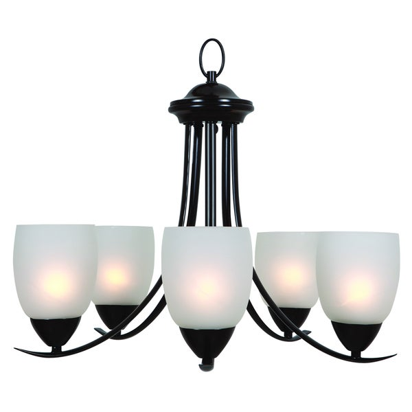 Ann Oil Rubbed Bronze Finish Bright, Elegant 5-light Chandelier with White Etched Glass