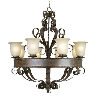 Gianni Patina Bronze Finish 8-light Chandelier with Soft Allure Alabaster Glass