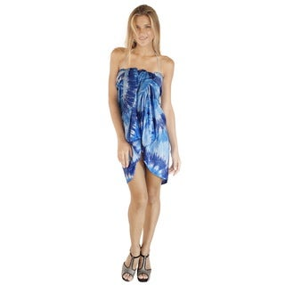 La Leela Women's Smooth Blue Hand Tie-die Rayon Abstract Art Skirt Cover-up with Free Sarong Clip