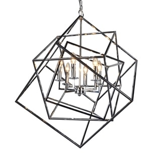 Electrified Polished Chrome Finish 6-light Chandelier with Intersecting Metal Cubes