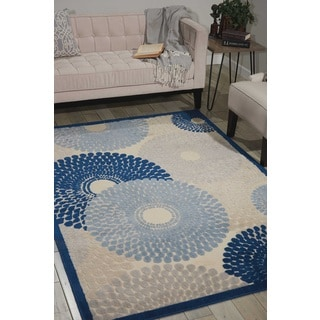 Nourison Graphic Illusions Ivory/Blue Rug (7'9 x 10'10)