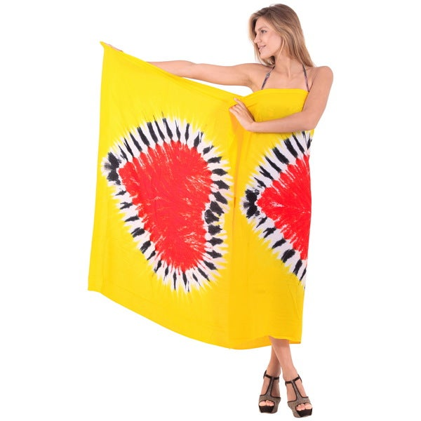 La Leela Hand Tie Dye Dual Heart Beach Cover up Pareo Skirt 78x43Inch Yellow
