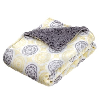 30-inch x 40-inch Yellow Medallion Micro Mink Fiber Baby Blanket with Grey Sherpa Reverse