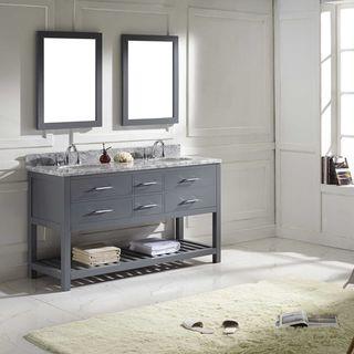 Virtu USA Caroline Estate 60-inch Round Double Bathroom Vanity Set with Faucets